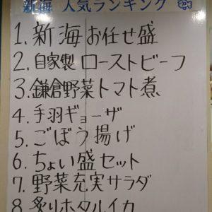 1位刺身、2位ローストビーフ、3位鎌倉野菜トマト煮